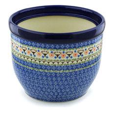 "Polish Pottery 12"" Stoneware Planter Hand-Decorated Design"