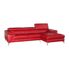 Ju0026M   Ju0026M A973b Premium Leather Sectional Sofa, Red   Sectional Sofas