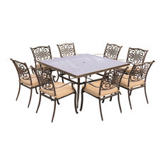 """Traditions 9-Piece Dining Set With 60"""" Square Table, Tan/Bronze"""
