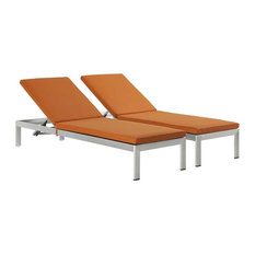 Shore Chaise With Cushions Outdoor Aluminum, Set of 2, Silver/Orange
