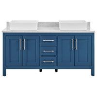 """Kendall Deep Blue Bathroom Vanity With Vessel Sink, 60"""""""