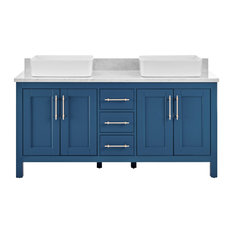 Kendall Deep Blue Bathroom Vanity With Vessel Sink, 60""