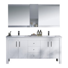 "Vanity Parsons 72"" Double Solid Surface Top, Matte White, 72"