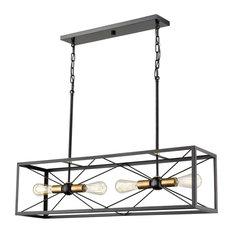 """4-Light 20.5"""" Black and Heirloom Bronze Chandelier"""