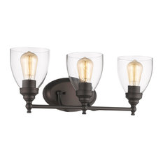 Elissa Transitional 3 Light Rubbed Bronze Bath Vanity Light Clear Glass 23""