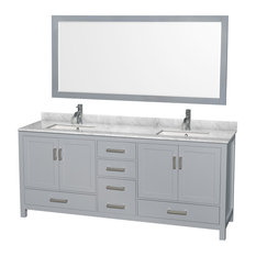 "Sheffield 80"" Double Vanity, Gray, Carrera Marble Top, Undermount Square Sinks"
