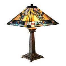 "Lighting Michael Mission 2 Light Antique Dark Bronze Table Lamp 16"" Shade"