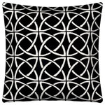 Joita, llc - Calynx Indoor/Outdoor Pillows, Sewn Closure, Set of 2 - Set of 2 - Calynx is a contemporary designed pillow with interlocking circles on a black background. Constructed with an outdoor rated zipper, thread and fabric. Printed pattern on polyester fabric. To maintain the life of the pillow, bring indoors or protect from the elements when not in use. Spot clean, hang to dry. Do not dry clean. Two complete pillows with stuffing and sewn closures.