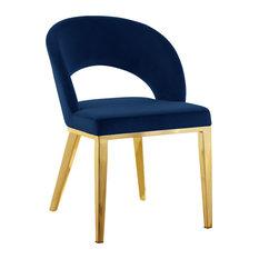 Roberto Velvet Dining Chair Navy Gold Legs