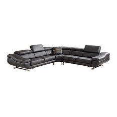 3-Piece Sectional With Ottoman Coffee Table Black