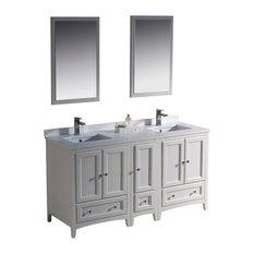 "Fresca Oxford 60"" Antique White Traditional Double Sink Bathroom Vanity"