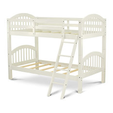 Twin Over Full Bunk Bed Safety Guardrails And Side Ladder Linen White Simple