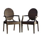 GDF Studio Townsgate Pe Wicker Outdoor Arm Chair, Set of 2