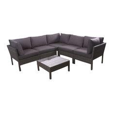 Infinity 6-Piece Wicker Patio Seating Set Grey With Grey Cushions