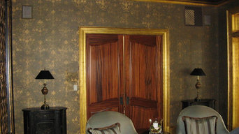 Olive Metallic Plaster with Gold Damask Stencil with 22K gold trim