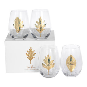 "5"" Tall ""Feuilles"" Glass Stemless Wine Glass, Clear and Gold, Set of 4"