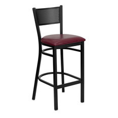 Flash Furniture Hercules Series Black Grid Back Metal Bar Stool