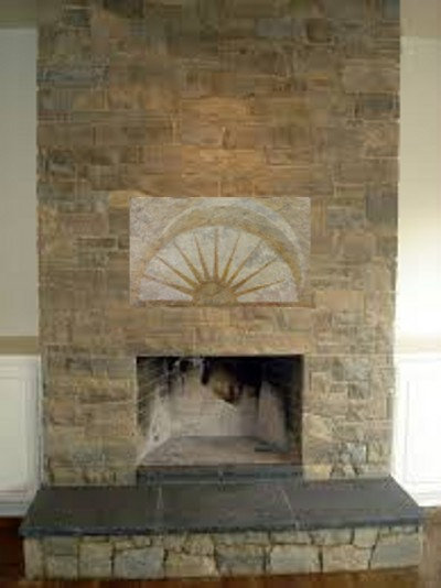 """Fireplace Mantle Stone focal point """"Rising Sun"""""""