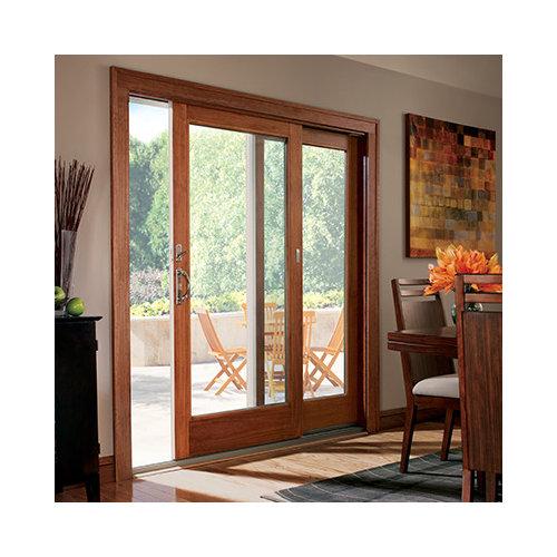 Wood Trim On Sliding Glass Door And Window In Kitchen