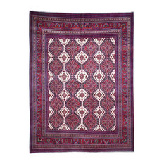 "Afghan Khamyab repetitive Design Silky Wool Hand Knotted Rug, 8'2""x10'9"""