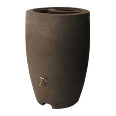 Algreen Athena 50 Gallon Rain Barrel With Brass Spigot, Brownstone