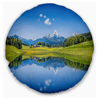 """Summer with Clear Mountain Lake Landscape Printed Throw Pillow, 16"""" Round"""