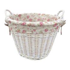 White Wash Garden Rose Cotton Lined Log Basket