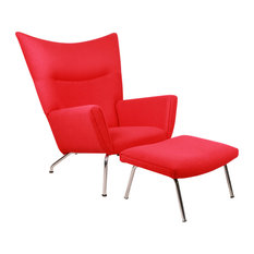 Kardiel   Midcentury Modern Cashmere Wing Chair And Ottoman, 2 Piece Set,  Red