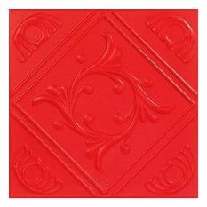 "Diamond Wreath, Styrofoam Ceiling Tile, 20""x20"", #R02, Red"