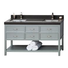 "Ronbow Newcastle Solid Wood 60"" Vanity Cabinet Base, Ocean Gray"