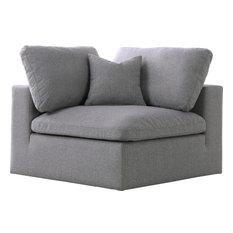 Serene Linen Down Filled Overstuffed Cloud Modular Chair Gray Corner Chair