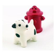Dog And Fire Hydrant Ceramic Salt & Pepper Shakers