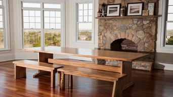 Trestle farm table with live edge benches
