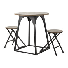 """Small Black And Brown Wood And Metal Table And Chair Set, 53""""x31"""""""