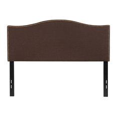 Lexington Upholstered Full Size Headboard W/ Nail Trim-Dk Brown Fabric