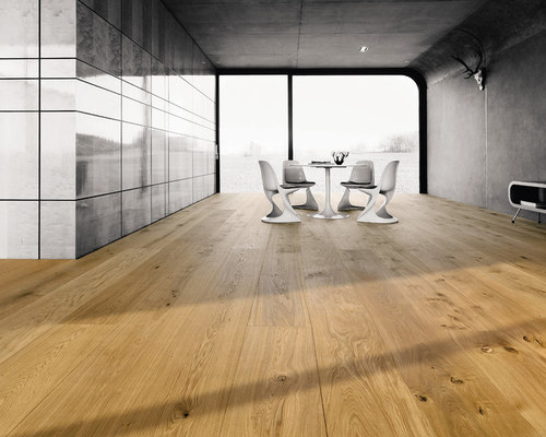 Parkettmanufaktur PLANK 1-STRIP XL 4M OAK brushed with bevelled edge all around. - Engineered Wood Flooring
