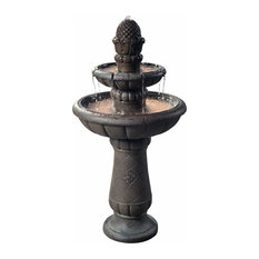 Peaktop Deluxe Pineapple 2 Tier Waterfall Fountain in Gray