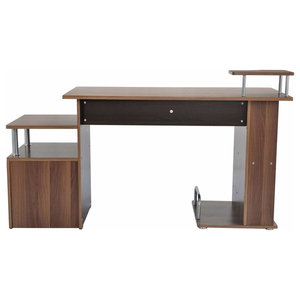 Modern Desk, MDF With Steel Frame, CPU Rack, 4 Open Shelves and Drawer, Brown