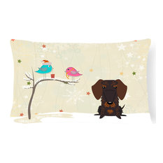 Christmas Presents Between Friends Wire Haired Dachshund Chocolate Canvas Pillow