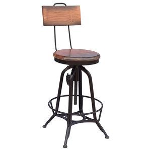 Christal Modern Industrial Acacia Wood Bar Stool