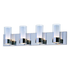 Silo 4-Light Bath Vanity, Polished Chrome, Clear/Frosted Glass