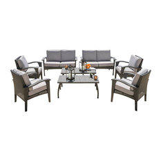 8-Piece Voyage Outdoor Wicker Seating, Gray Set