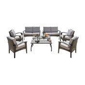 GDF Studio 8-Piece Voyage Outdoor Wicker Seating, Gray Set