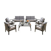 GDF Studio 8-Piece Voyage Outdoor Wicker Seating, Gray Set
