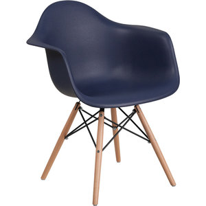 Alonza Series Plastic Chair With Wood Base, Navy
