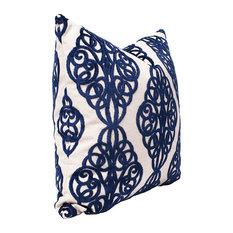 "Pawn Midnight Blue Scrollwork Pillow, 14""x22"""