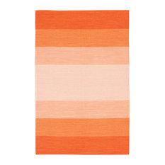 India Contemporary Area Rug, Orange and Cream, 2'x3' Rectangle