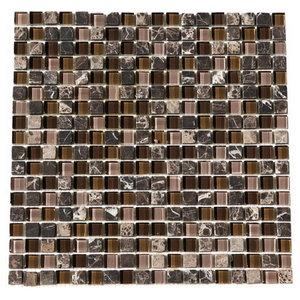"Glacier Stone Blend Mosaic Tile, Brown Glass, 50 Sq. ft., 12""x12"""