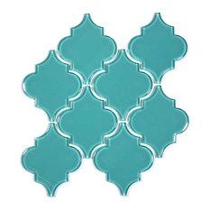 Glass Arabesque Tile, Teal, Case of 11