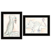 """Whimsical Dinosaurs"" 2-Piece Vignette by Mia Russell, Black Frame"